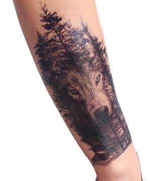 Тату временные рука, нога ЛЕС волк от плеча доставка товаров из Польши и Allegro на русском