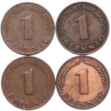 + КОМПЛЕКТ - Германия-ФРГ - 4 x 1 Pfennig 1948 DFGJ доставка товаров из Польши и Allegro на русском