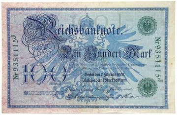 Германия - КУПЮРА - 100 Марок 1908 ЗЕЛЕНАЯ ПЕЧАТЬ доставка товаров из Польши и Allegro на русском