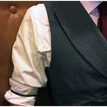 srebrne opaski na rękawy/ręce szelki koszula RETRO