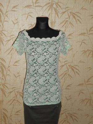 AMISU - koronkowa miętowa bluzka - M/L