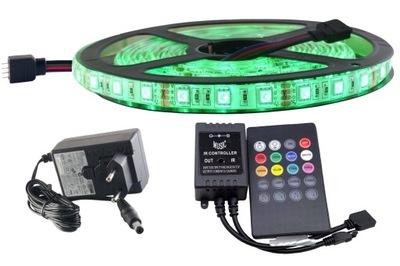 Osvetlenie nábytku LED pás - ZESTAW LED RGB 300 SMD 5050 IP65 MUZYCZNY DISCO 2m
