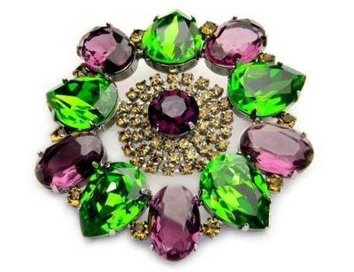Broszka zielono fioletowa, Swarovski, prezent, Jab