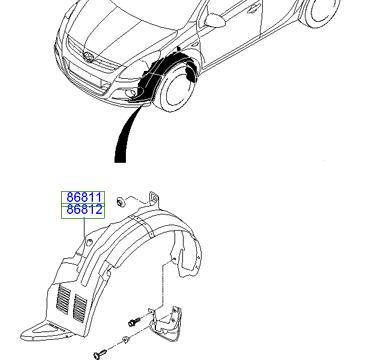 Nadkole przednie Hyundai I20 oryginał nowe