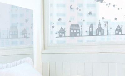 Nástenná samolepka - Vianočné okná samolepky na sklo