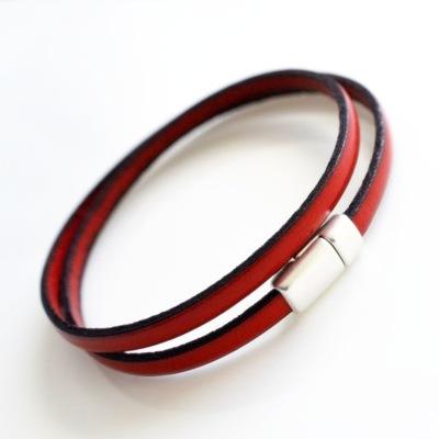 Bransoletka skórzana czerwona męska 5mm