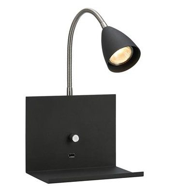 Markslojd Logi kinkiet czarny flex 107141 USB