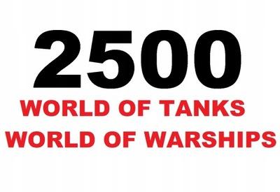 2500 GOLD ZŁOTO DUBLON WOT WORLD OF TANKS WARSHIPS