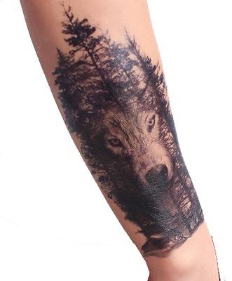 Tatuaż Zmywalny Wilk Las Duży Unikatowy 21x15