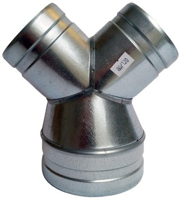 zníženie Tee 1x150/2x125mm spiro hadice kapota