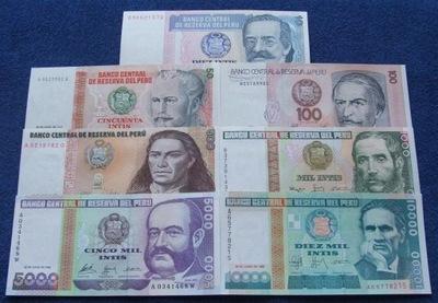 ZESTAW BANKNOTÓW PERU !!! UNC !!! KOMPLET