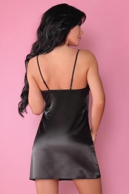 JACQUELIN 3cz koszulka+szlafrok+stringi S/M black