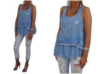 149# Włoska Koszula Tunika Krata Asymetryczna 6039374245  X1n2N
