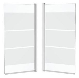 Sprchové dvere - PARAWAN pre vaňové sklo 140x70 s mliečnymi pruhmi