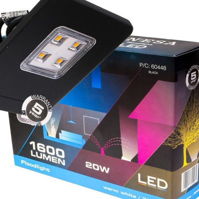 Osvetlenie vonkajšie - Naświetlacz projektor LED ultra slim 20W IP65 ciep