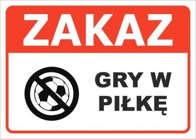 TABLICZKA ZAKAZ GRY W PIŁKĘ 35x25 CM - PRODUCENT