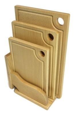 Drewniane deski do krojenia - komplet + GRATIS