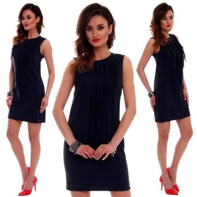 7ffbab22b4 Czarna sukienka z frędzlami FAVER r 42 (14) - 7572447865 - oficjalne ...
