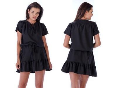f7b435b03a G-look Sukienka bawełniana wiązana w pasie szara L 7043836027 ...