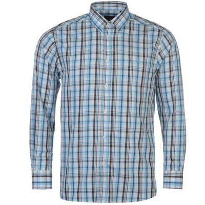 Koszula męska w niebiesko granatową kratę A29 Rozmiar