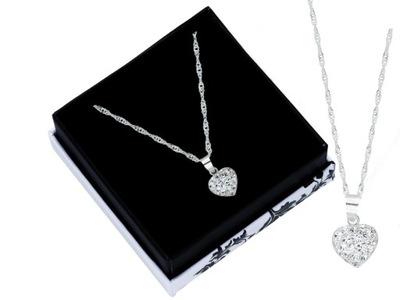 Łańcuszek srebrny z sercem swarovski + pudełko42cm