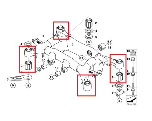 TULEJE ZAWIESZENIA BELKI WÓZKA BMW E60 M5 E63 M6