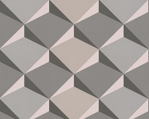 Tapety Geometryczne 3d Szare Beżowe Ruchome ściany 6965384898
