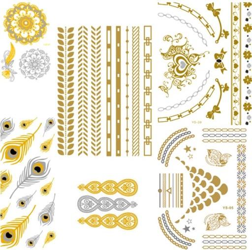 Tatuaże Tatuaż Boho Złote Srebrne Duże Nowe Wzory