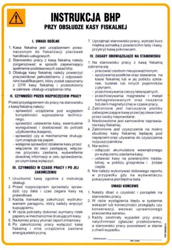Nowość Instrukcje BHP PRZY OBSŁUDZE KASY FISKALNEJ 7568556722 - Allegro.pl YD99