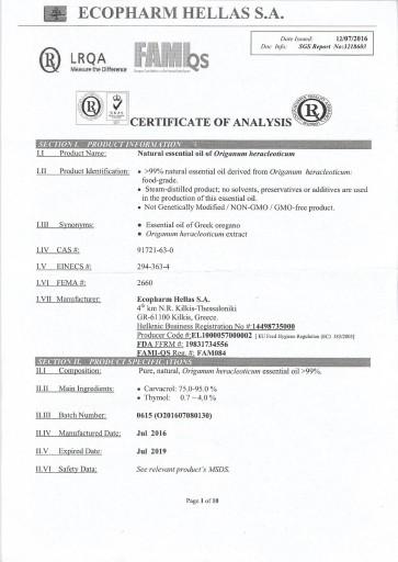 Olejek z dzikiego oregano 100% Zane Hellas Candida