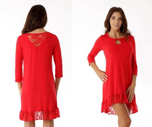 ff4855b546 Asymetryczna sukienka tunika oversize koronka L XL 7539127295 - Allegro.pl