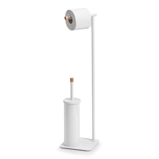 Stojak na papier toaletowy i szczotkę wc biały/dr