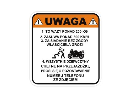 Naklejka Na Motor Uwaga Nie Siadac Na Motocykl Namyslow Allegro Pl