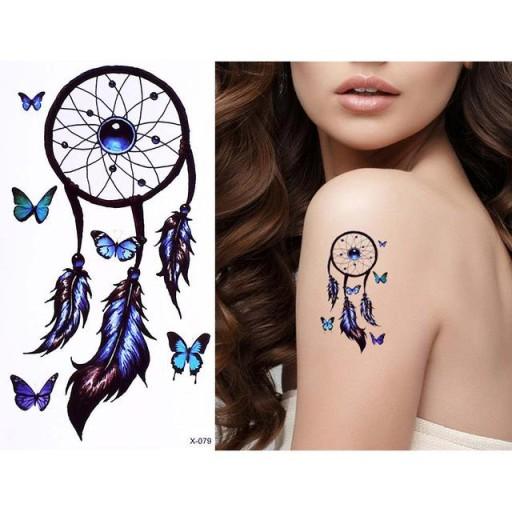 Tatuaż Zmywalny łapacz Snów Pióra Motyle Niebieski
