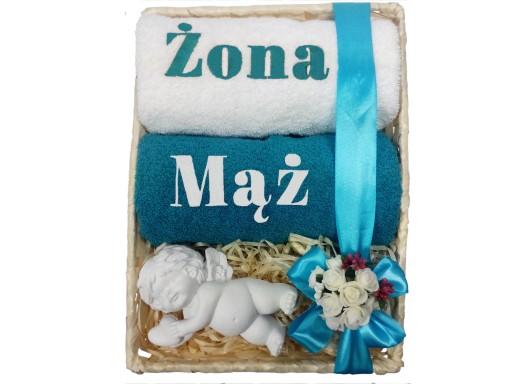 Idealny Prezent Na ślub Ręczniki Z Haftem W Koszu 7046372684