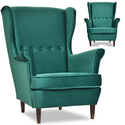 Stylowy Fotel Do Salonu Uszak Malmo Zielony Welur