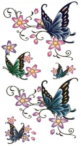 Wodne Tatuaże Motyle Kalkomania Z Kwiatami M5