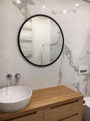 Lustro łazienkowe Okrągłe Czarna Rama 80 Cm