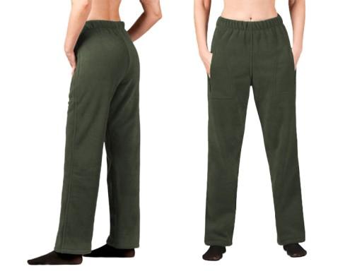 Spodnie Polarowe Dresowe Damskie Polar r L zielone