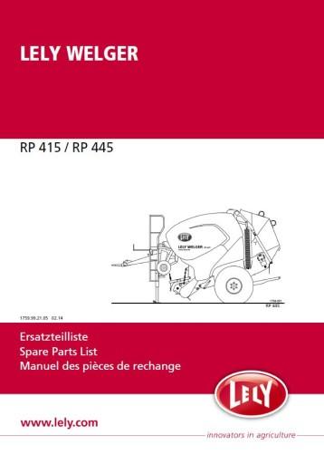 Katalog części prasa LELY WELGER RP 415 445