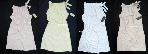 Włoska sukienka wiązana stójka boho jak jedwabna