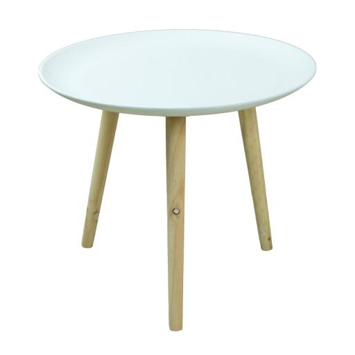 STOLIK stołek do salonu DREWNIANY biały H55cm