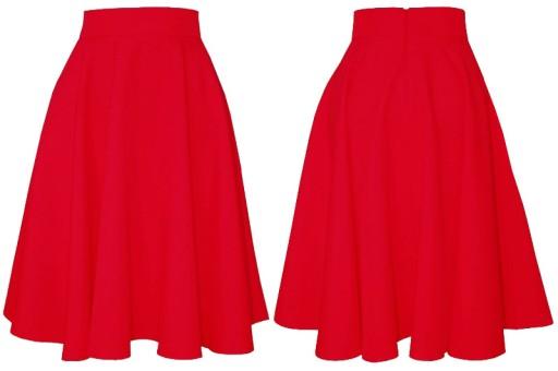 XXL MIDI czerwona spódnica z koła rozłożysta 44
