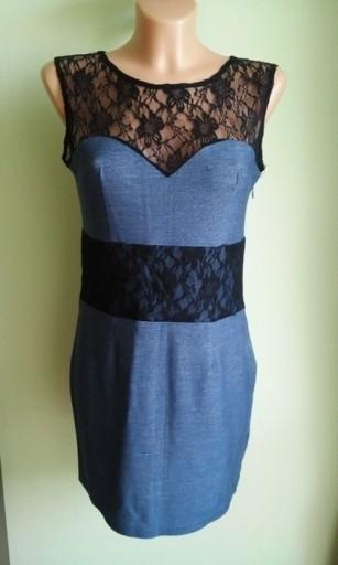 Sukienka ołówkowa jeansowa koronkowa Rare ( 38 )