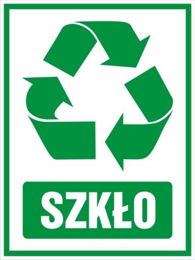 Naklejka na kosz segregacja śmieci SZKŁO 14x19cm