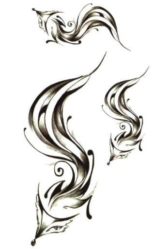 Piórko Tatuaż Z Lisem Piórkiem Naklejka Henna M17