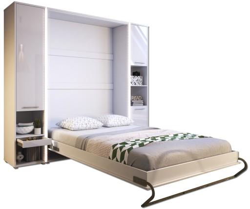 łóżko Chowane W Szafie 140x200 2 Dostawki Połysk