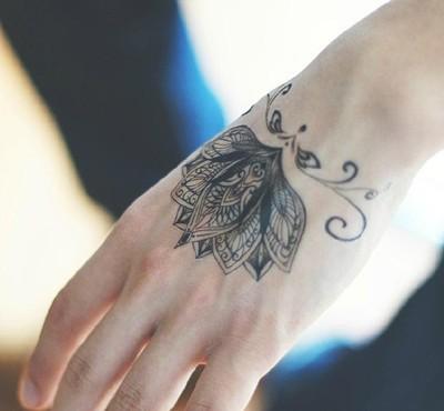 Tatuaż Zmywalny Tymczasowy Kwiat Lotosu 105x6cm