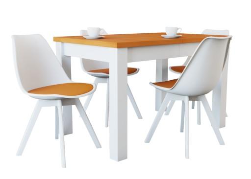 Zestaw Rozkładany Stół 4 Krzesła Typu Kubełek
