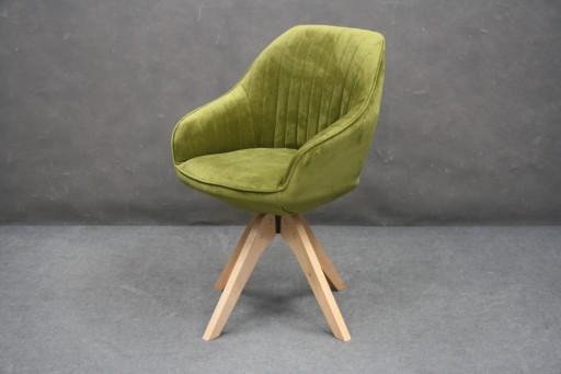 Krzesło Fotel Obrotowy Zielony Retro Zieleń Drewno